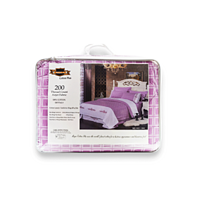 Mega cotton luxury comforter king 6pcs sets- purple with white