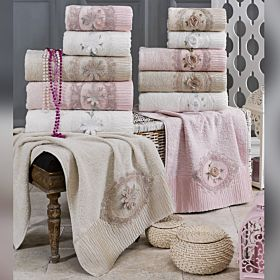 6 PCS FRENCH GUIPURE TOWEL IN CARDBOARD BOX