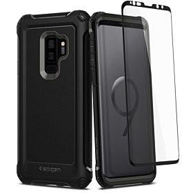 Spigen Samsung Galaxy S9 PLUS Pro Guard case / cover - Gunmetal / Black - Full 360 protection with Glas.tR Glass Screen Protector