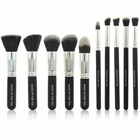 10pcs Kabuki Stylish Fashion Makeup Brush Set Kit - Black