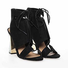 TRUFFLE Black Heel Sandal For Women