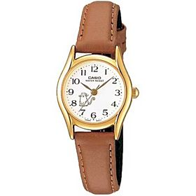 Casio Women's White Dial Leather Band Watch - LTP-1094Q-7B8