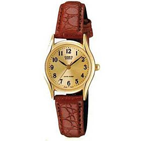 Casio Women's Gold Dial Leather Band Watch - LTP-1094Q-9B