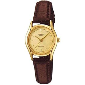Casio Women's Gold Dial Leather Band Watch - LTP-1094Q-9A