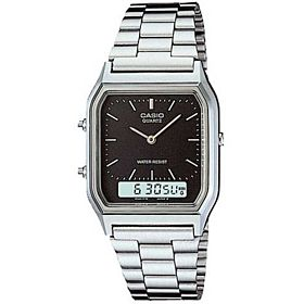 Casio Unisex Ana-Digi Dial Stainless Steel Band Watch - AQ230A-1DMQ