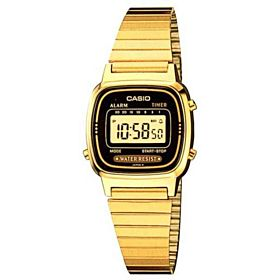 Casio Ladies Black Digital Dial Gold Tone Stainless Steel Band Watch [LA670WG-1D]