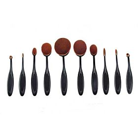 Oval Makeup Brushes 10pcs - Black
