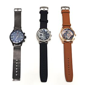 3 PCs Multi function Stainless Steel Men's Watches