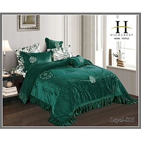 High Crest Velvet Lace Embroidered Comforter 7PCS set Layal-Green