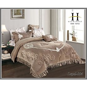 High Crest Velvet Lace Embroidered Comforter 7PCS set Layal-Gold