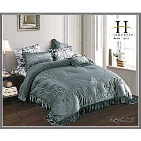 High Crest Velvet Lace Embroidered Comforter 7PCS set Layal-Grey