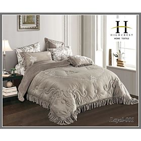 High Crest Velvet Lace Embroidered Comforter 7PCS set Layal-Beige