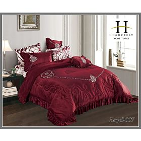 High Crest Velvet Lace Embroidered Comforter 7PCS set Layal-Red