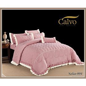 Calvo Microfiber Embroidered Comforter 7pcs set Safaa-Pink