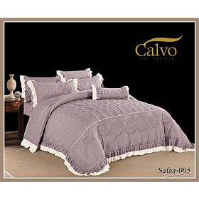 Calvo Microfiber Embroidered Comforter 7pcs set Safaa-Purple
