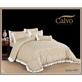Calvo Microfiber Embroidered Comforter 7pcs set Safaa-Beige