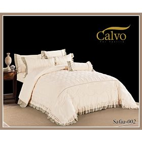 Calvo Microfiber Embroidered Comforter 7pcs set Safaa-Yellow