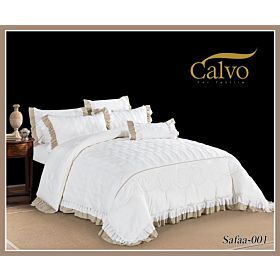 Calvo Microfiber Embroidered Comforter 7pcs set Safaa-White