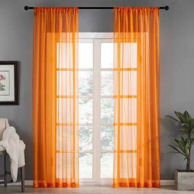 DEALS FOR LESS - Window Sheer Set of 2 Pieces, Orange Color