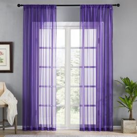 DEALS FOR LESS - Window Sheer Set of 2 Pieces, Purple Color