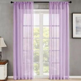 DEALS FOR LESS - Window Sheer Set of 2 Pieces, light Purple Color