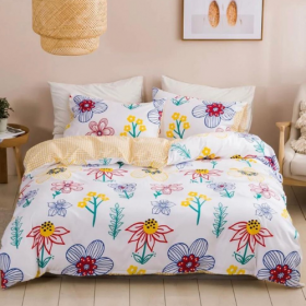 DEALS FOR LESS - Single Size, Duvet Cover, Bedding Set of 4 Pieces,Floral  , 1 Duvet cover + 1 Fitted bedsheet + 2 pillow covers