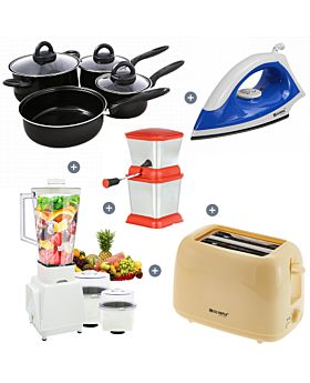5 Items Combo Combo Offer Lucky 3 in 1 Blender+7 pc non-stick cookware set 22CM Fry pan, 16CM Covered sauce pan, 18CM covered sauce pan,22CM covered dutch oven +2 Slice Toaster + non-stock Dry Iron Box+ Stainless Onion Cutter