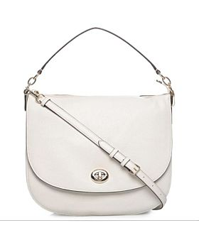 Coach Polished Pebble Turnlock Hobo Bag for Women - Leather, Chalk