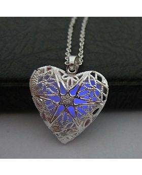 Silver Heart Locket Pendant with Necklace