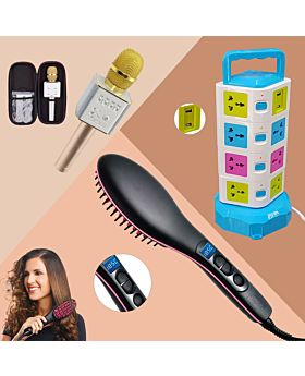 3 ITEMS COMBO OFFER (4 Layer Extension Socket +LED Straight artifact Hair Straightener +Q9 Wireless Handheld Karaoke Microphone Bluetooth)