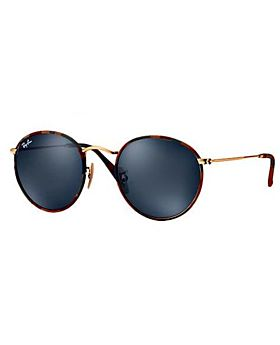 Ray-Ban Round Sunglasses for Unisex - Full Rim Gold Frame, Blue Flash Lens