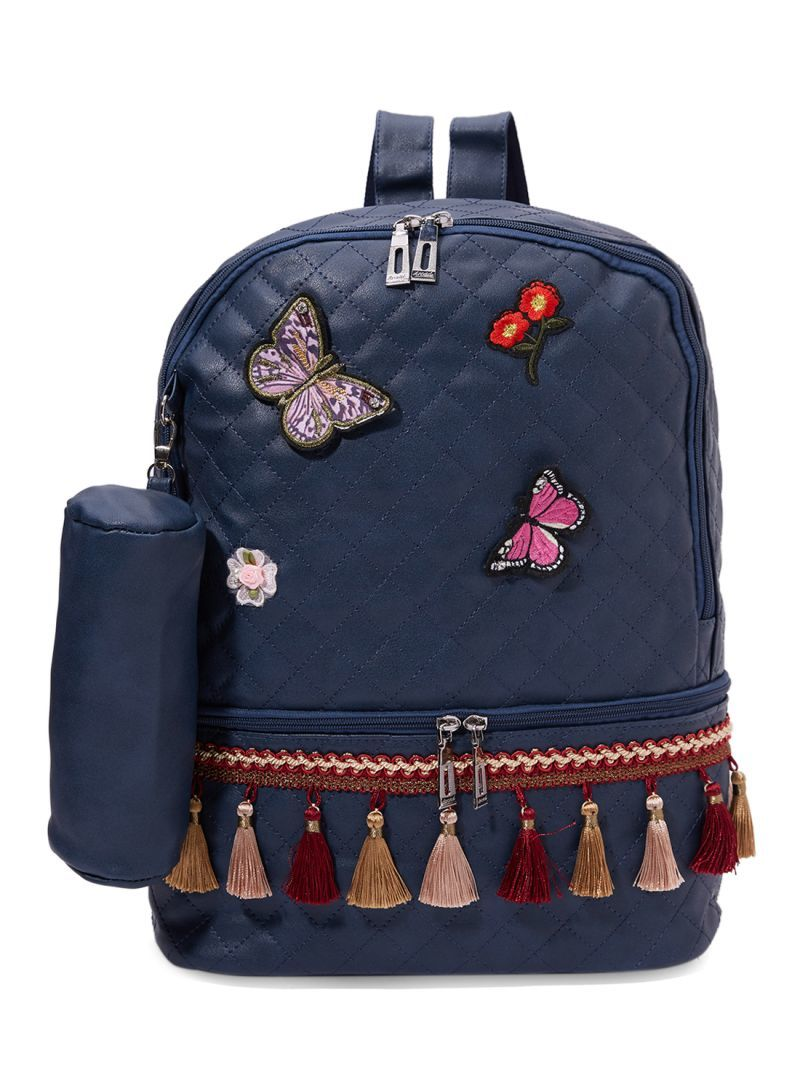 Arcad Zipper Closure Backpack With Pencil Pouch Blue 33068