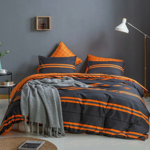 Duvet Cover 1 Fitted Bedsheet, Gray And Orange Bedding