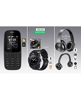 3 Item Combo OFFER!!! Nokia 105 2017 Model + BSNL A2 SIM Supported Bluetooth Smartwatch + SODO MH1 2 in 1 Bluetooth Headset & high volume Speaker