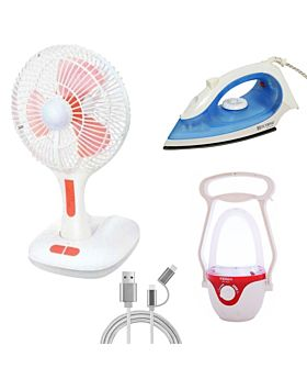 4 items special combo (Fan+Emergency+Iron Box+Data cable)