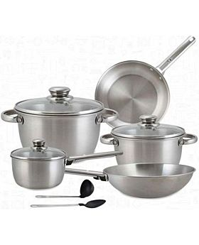Royalford 10-Piece Cookware Set Silver RF8408